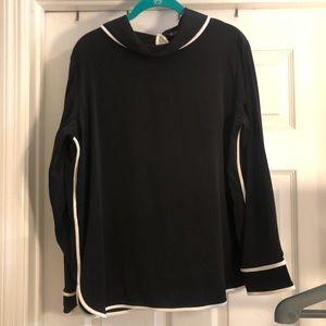 Zara black long sleeve top with white trim